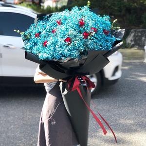 블루안개+빨간장미 대형꽃다발 (대전만 가능)